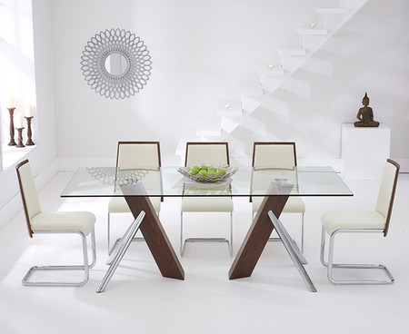 Nixon 200cm Glass and Walnut Dining Table with Nixon Chairs