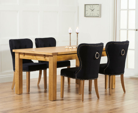 Rustique 150cm Solid Oak Extending Dining Table with Knightsbridge Fabric Chairs