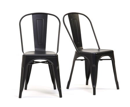 Xavier Tolix Industrial Style Black Dining Chairs