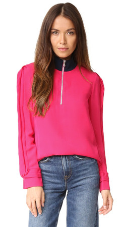 3.1 Phillip Lim Blouse With Front Zip - Bright Cerise