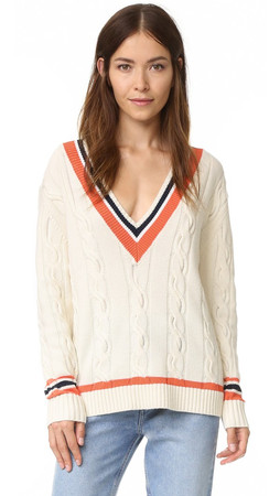 3.1 Phillip Lim Collegiate V Neck Sweater - White