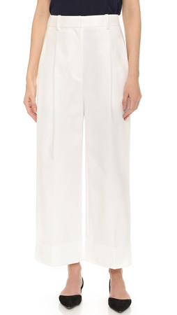 3.1 Phillip Lim Cropped Wide Leg Cuff Trousers - Ivory