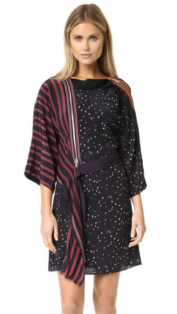 3.1 Phillip Lim Kimono Dress With Cascading Ribbon - Black