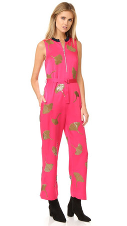 3.1 Phillip Lim Sleeveless Ginkgo Embellished Jumpsuit - Bright Cerise