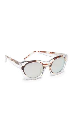 3.1 Phillip Lim Translucent Rim Sunglasses - Clear Tortoiseshell/Turquoise