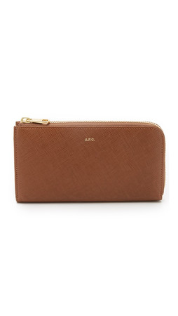 A.P.C. Long Zip Wallet - Taupe