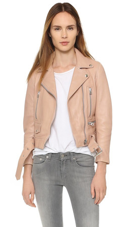 Acne Studios Leather Moto Jacket - Peach