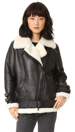 Acne Studios Velocite Shearling Moto Coat - Black/Off White