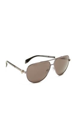 Alexander Mcqueen Skull Aviator Sunglasses - Ruthenium/Smoke