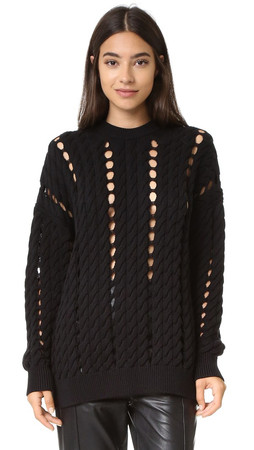 Alexander Wang Cable Pullover With Slits - Jet