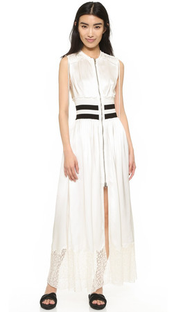 Alexander Wang Deconstructed Zip Up Maxi Dress - Cream
