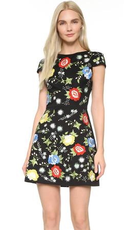 Alice + Olivia Ellen Embroidered Dress - Black Multi