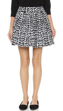 Alice + Olivia Fixer Box Pleat Skirt - Black/White