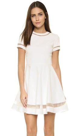 Alice + Olivia Frances Mini Flared Dress - White