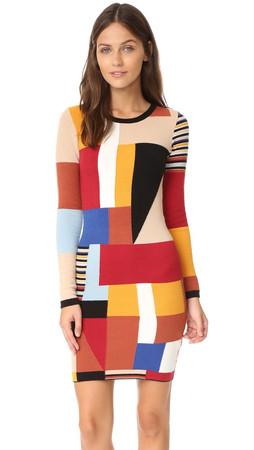 Alice + Olivia Hayden Patchwork Dress - Multi