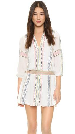Alice + Olivia Jolene Embroidered Dress - Cream Multi