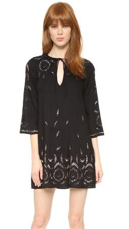 Alice + Olivia Morgana Embroidered Dress - Black/Nude