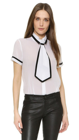 Alice + Olivia Oswald Top With Neck Tie - White/Black