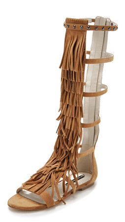 Alice + Olivia Paula Fringe Gladiator Sandals - Toffee