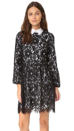 Alice + Olivia Terisa Gathered Waist Dress - Black/White