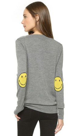 Anya Hindmarch Pullover With Smiley Patches - Medium Grey