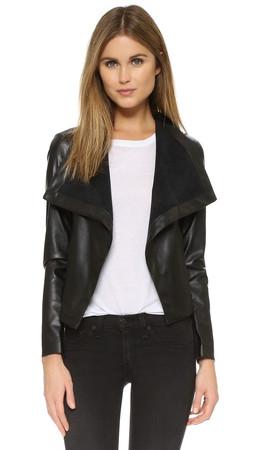 Bb Dakota Ariana Drape Front Jacket - Black