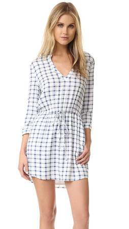 Bb Dakota Clay Plaid Dress - Carbon Grey