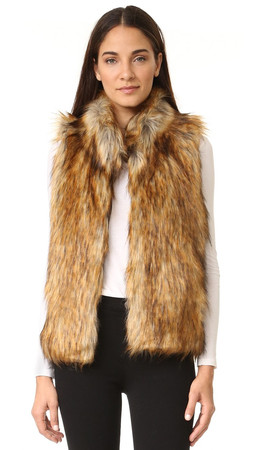 Bb Dakota Colton Faux Fur Vest - Red Fox