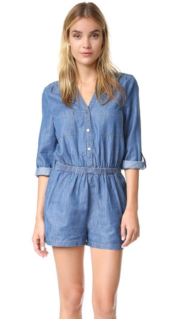 Bb Dakota Jack By Bb Dakota Alan Romper - Medium Wash Chambray