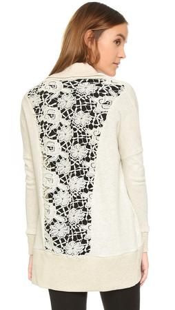 Bb Dakota Lewis Crochet Back Cardigan - Heathered Oatmeal