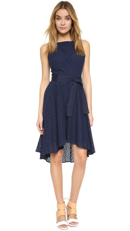 Bb Dakota Lilyana Eyelet High Low Dress - Navy