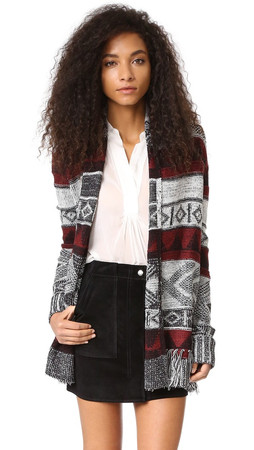 Bb Dakota Loyd Patterned Fringe Cardigan - Black