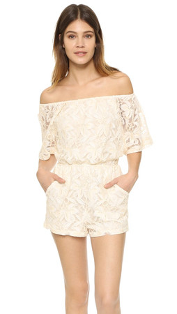 Bb Dakota Nikola Off Shoulder Lace Romper - Antique Ivory