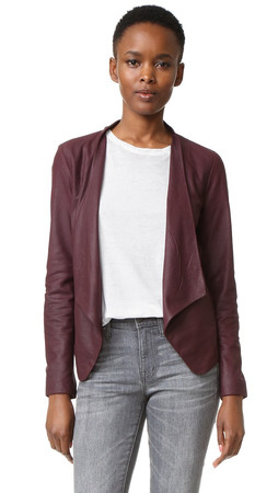Bb Dakota Wyden Leather Jacket - Aubergine