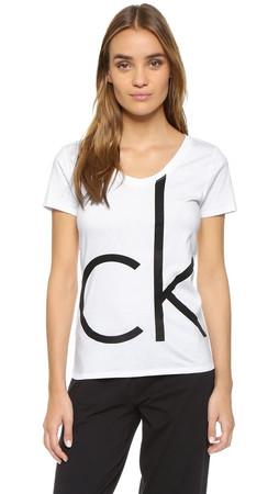 Calvin Klein Underwear Ck Lounge V Neck Tee - White Black Logo