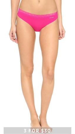 Calvin Klein Underwear Invisibles With Lace Thong - Flourish Pink Slip