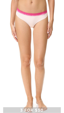 Calvin Klein Underwear Invisibles With Lace Thong - Rose Quartz/Flourish