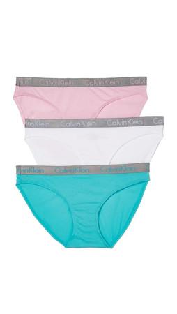 Calvin Klein Underwear Radiant Cotton 3 Pack Bikini Briefs - Unique/Bitter/White