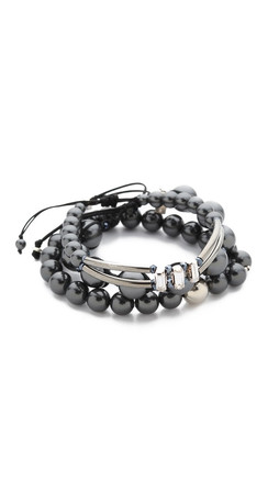 Chan Luu Beaded Bracelet Set - Black Mix