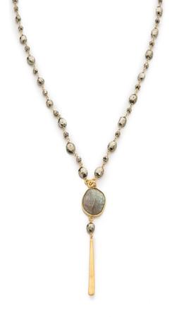 Chan Luu Beaded Drop Pendant Necklace - Pyrite