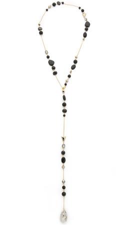 Chan Luu Beaded Lariat Teardrop Necklace - Onyx Mix