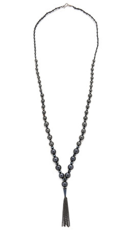 Chan Luu Chain Tassel Beaded Necklace - Black Mix