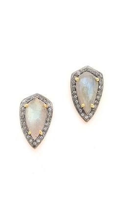 Chan Luu Pave Stone Earrings - Labradorite