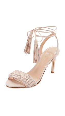 Club Monaco Journie Fringe Sandals - Tan