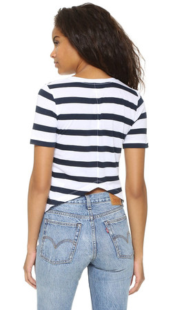 Club Monaco Tymber V Neck Top - Pure White/Aviator Navy