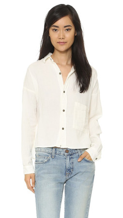 Current/Elliott The Boxy Cropped Shirt - Dirty White