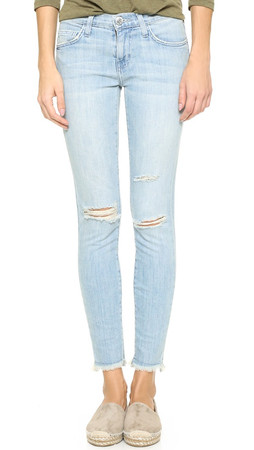 Current/Elliott The Stiletto Jeans - Midday Destroy With Raw Hem