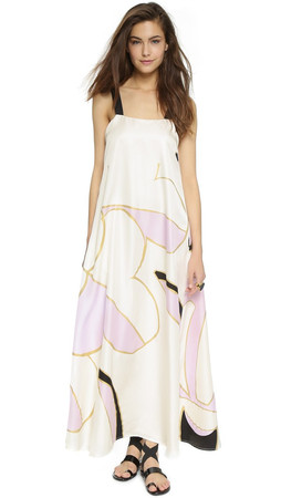 Cynthia Rowley Floral Silk Maxi Dress - Cream/Pink Combo