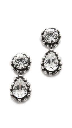 Dannijo Alix Earrings - Clear/Ox Silver