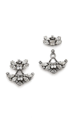 Dannijo Andreas Earrings - Clear/Ox Silver